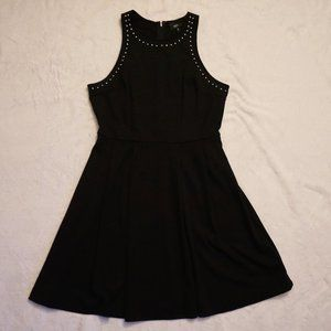 Trendy Black Flare Dress with Silver Studs